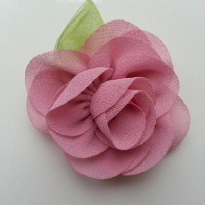 Fleur en mousseline avec feuille  50mm vieux rose