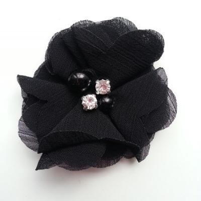 fleur perle et strass mousseline  55mm noir