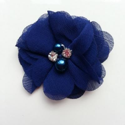 fleur perle et strass mousseline  55mm bleu marine