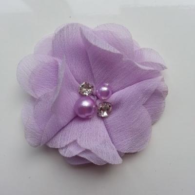 fleur perle et strass mousseline  55mm mauve