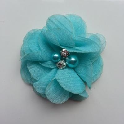 fleur perle et strass mousseline  55mm bleu