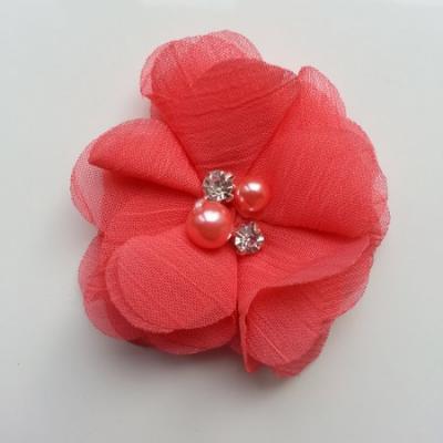 fleur perle et strass mousseline  55mm rose saumon