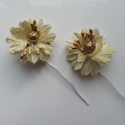 lot de 2 fleurs artificielles sur tige or , doré 45mm