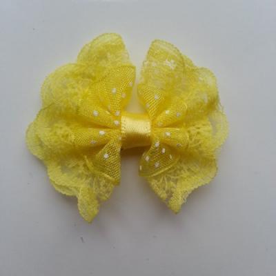 Noeud en dentelle et organza à pois 40*45mm jaune