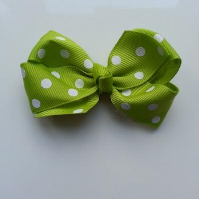 Gros noeud en ruban à pois 70*45mm vert clair