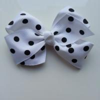 Gros noeud en ruban à pois 70*45mm blanc et noir