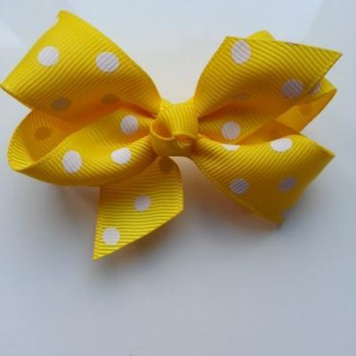 Gros noeud en ruban à pois 70*45mm jaune