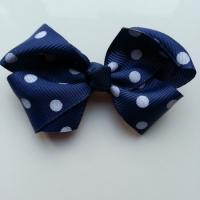Gros noeud en ruban à pois 70*45mm bleu marine