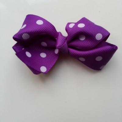 Gros noeud en ruban à pois 70*45mm violet