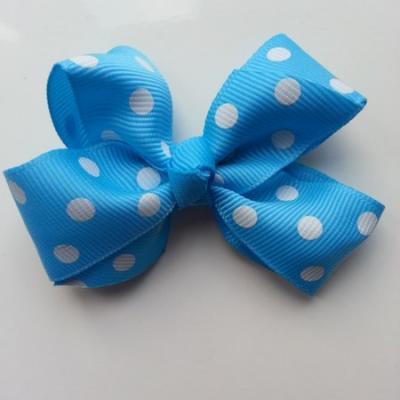 Gros noeud en ruban à pois 70*45mm bleu turquoise
