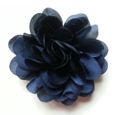 fleur en mousseline de soie 60mm bleu marine