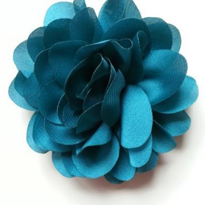 fleur en mousseline de soie 60mm bleu vert