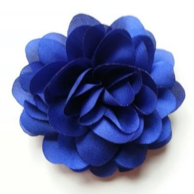 fleur en mousseline de soie 60mm bleu royal