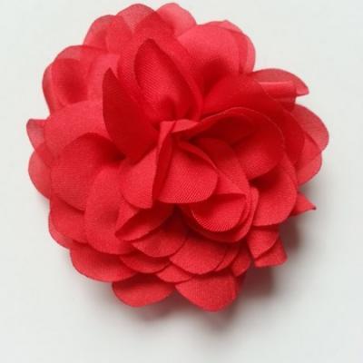 fleur en mousseline de soie 60mm rouge