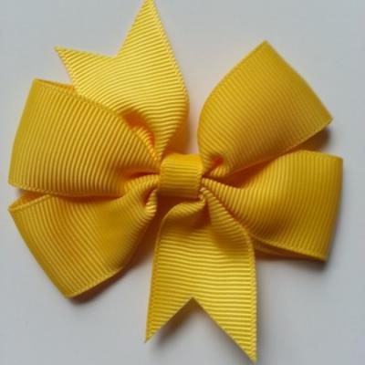 Gros noeud en ruban gros grain  80mm jaune poussin
