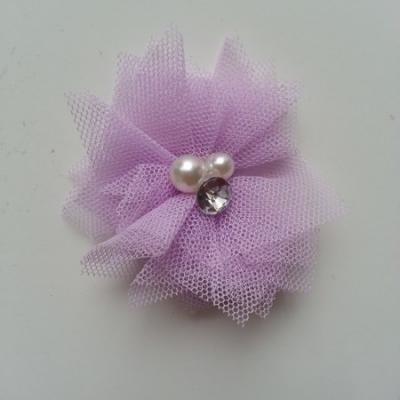 Applique tulle perle et strass 55mm  mauve