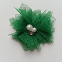 Applique tulle perle et strass 55mm  vert foncé