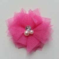 Applique tulle perle et strass 55mm  rose bonbon
