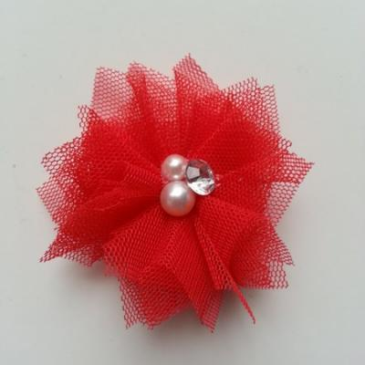 Applique tulle perle et strass 55mm  rouge
