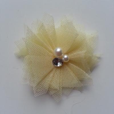 Applique tulle perle et strass 55mm jaune pâle