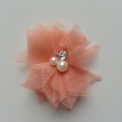 Applique tulle perle et strass 55mm  pêche