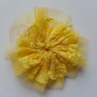 applique tulle et dentelle 80mm jaune