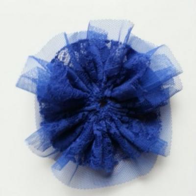 applique tulle et dentelle 80mm bleu royal