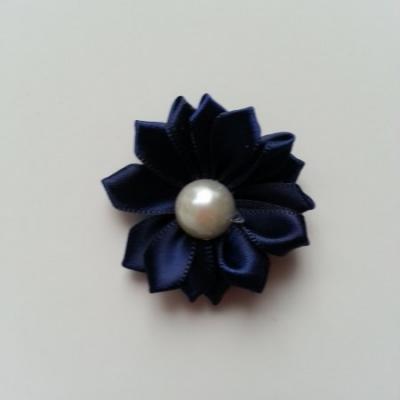 fleur satin demi perle  35mm bleu marine