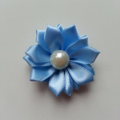 fleur satin demi perle  35mm bleu ciel