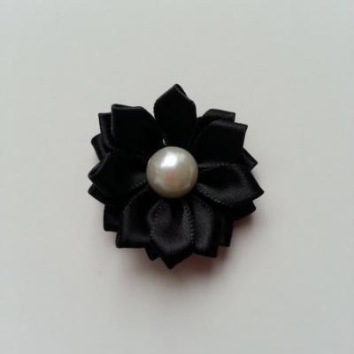 fleur satin demi perle  35mm noir