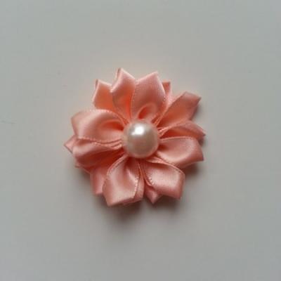 fleur satin demi perle  35mm pêche