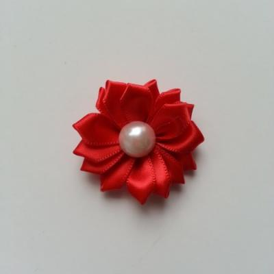 fleur satin demi perle  35mm rouge
