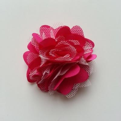 Rosette  fleur  satin et tulle  50mm rose fuchsia et blanc