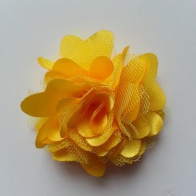 Rosette  fleur  satin et tulle  50mm jaune