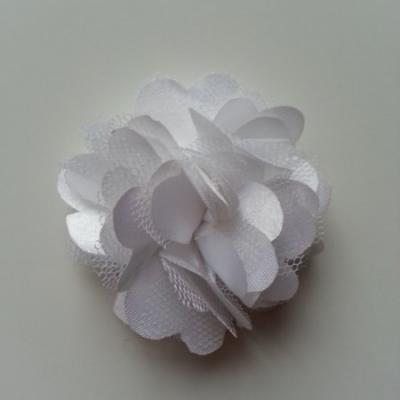 Rosette  fleur  satin et tulle  50mm blanc