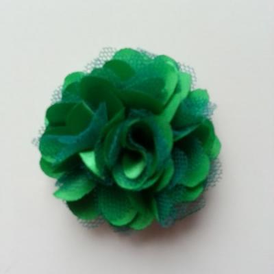 Rosette  fleur  satin et tulle  50mm vert foncé