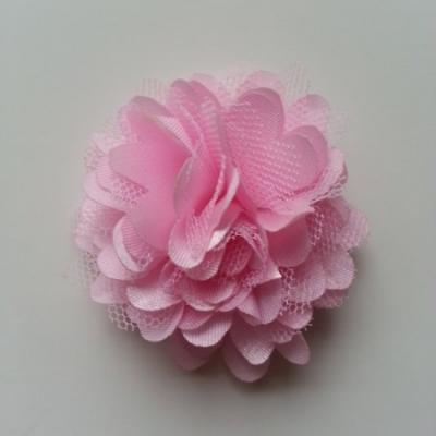 Rosette  fleur  satin et tulle  50mm rose pale