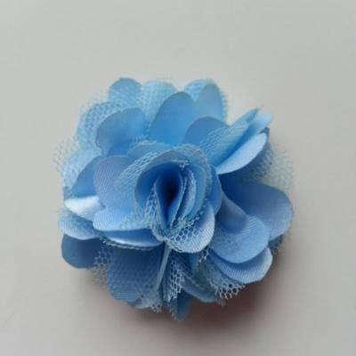Rosette  fleur  satin et tulle  50mm bleu ciel