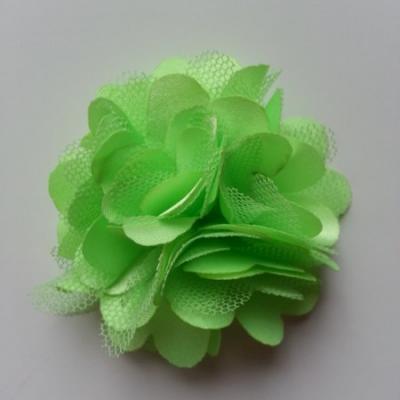 Rosette  fleur  satin et tulle  50mm vert clair
