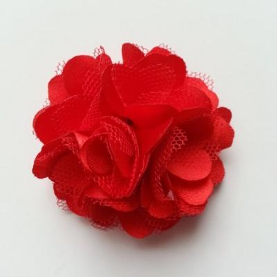 Rosette  fleur  satin et tulle  50mm rouge