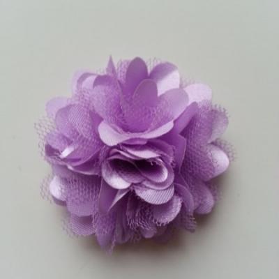 Rosette  fleur  satin et tulle  50mm mauve