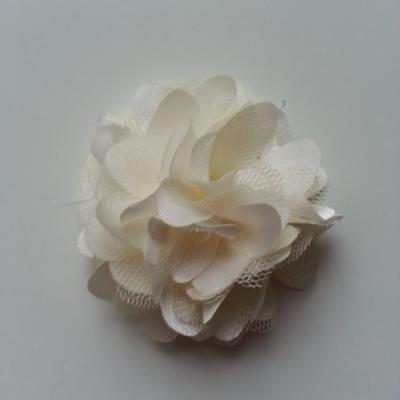 Rosette  fleur  satin et tulle  50mm ivoire