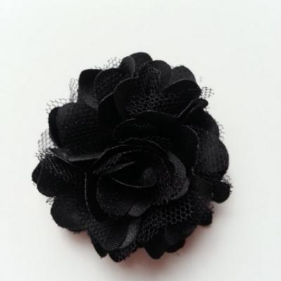 Rosette  fleur  satin et tulle  50mm noir
