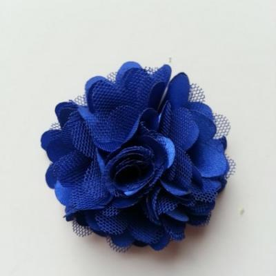 Rosette  fleur  satin et tulle  50mm bleu foncé