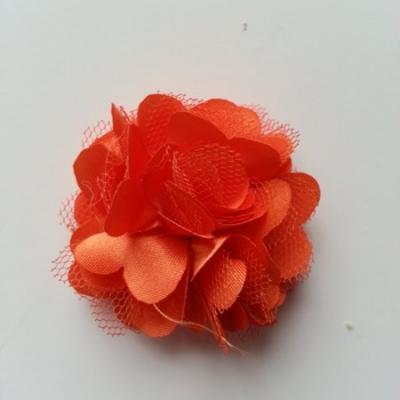 Rosette  fleur  satin et tulle  50mm orange