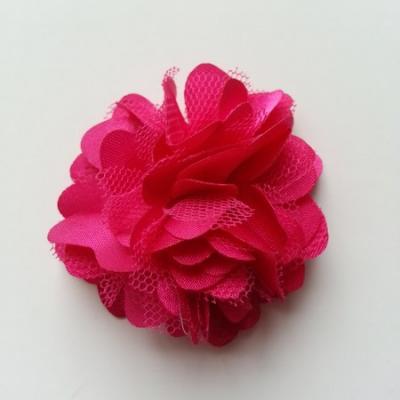 Rosette  fleur  satin et tulle  50mm rose fuchsia