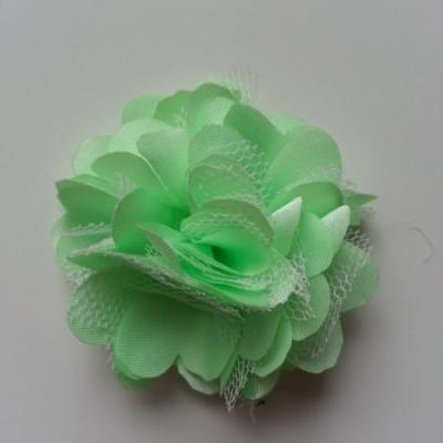 Rosette  fleur  satin et tulle  50mm vert anis