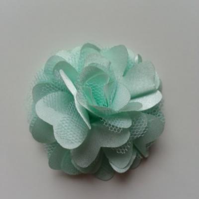 Rosette  fleur  satin et tulle  50mm vert pastel