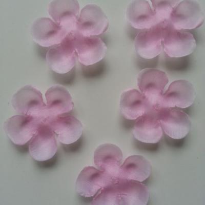 lot de 5 fleurs en tissu 50mm rose clair