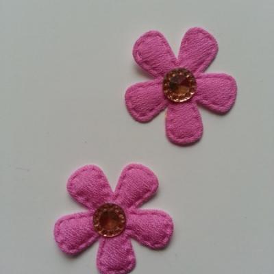 Lot de 2 appliques fleurs avec centre strass  35mm rose